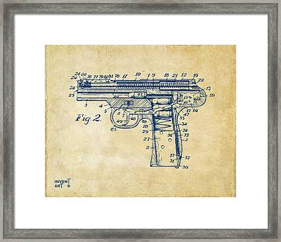 1911 Automatic Firearm Patent Minimal - Vintage Framed Print by Nikki Marie Smith