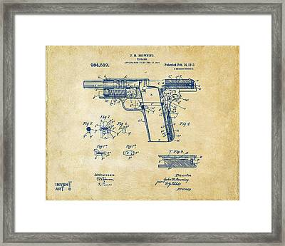 1911 Colt 45 Browning Firearm Patent 2 Artwork Vintage Framed Print by Nikki Marie Smith