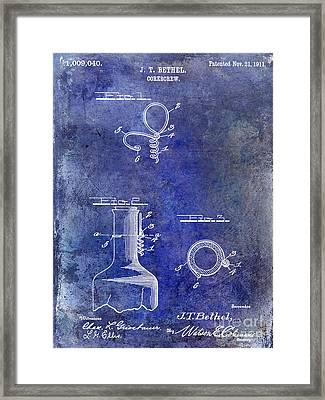 1911 Corkscrew Patent Blue Framed Print by Jon Neidert
