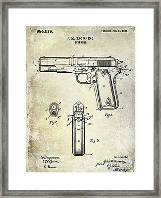 1911 Firearm Patent Framed Print by Jon Neidert