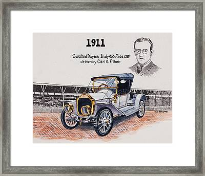 1911 Indy 500 Pace Car Framed Print by Jeff Blazejovsky