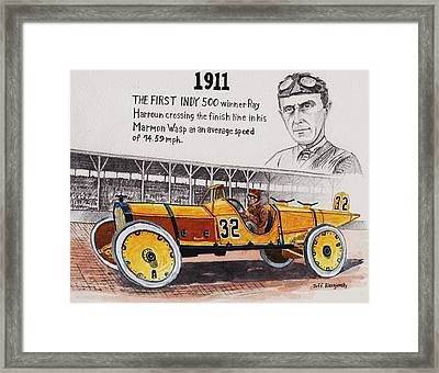 1911 Indy 500 Winner Framed Print by Jeff Blazejovsky