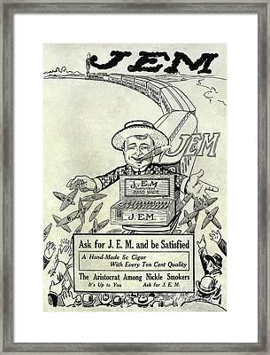 1911 Jem Cigar Advertisement Framed Print