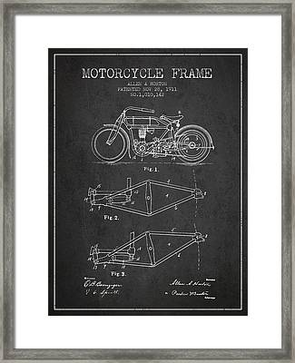 1911 Motorcycle Frame Patent - Charcoal Framed Print by Aged Pixel