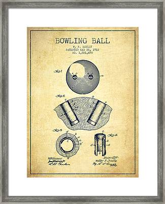 1912 Bowling Ball Patent - Vintage Framed Print