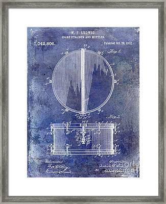 1912 Ludwig Drum Patent  Blue Framed Print