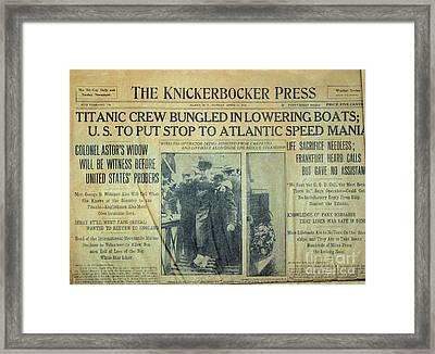 1912 Titanic Newspaper Framed Print by Jon Neidert