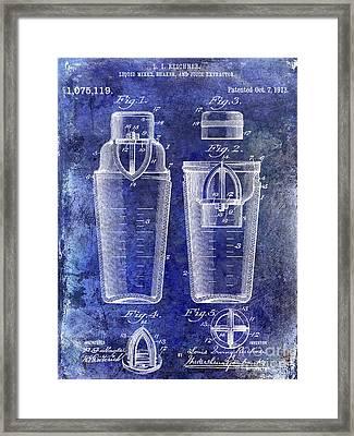 1913 Cocktail Shaker Patent Blue Framed Print by Jon Neidert