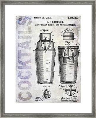 1913 Cocktail Shaker Patent Framed Print by Jon Neidert