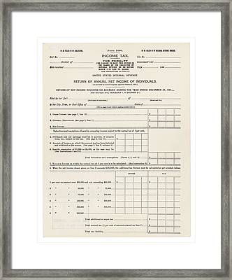 1913 Federal Income Tax 1040 Form. The Framed Print by Everett