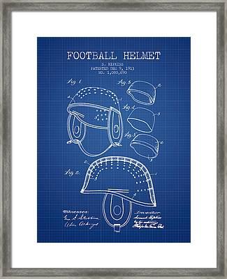 1913 Football Helmet Patent - Blueprint Framed Print