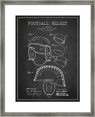1913 Football Helmet Patent - Charcoal Framed Print by Aged Pixel