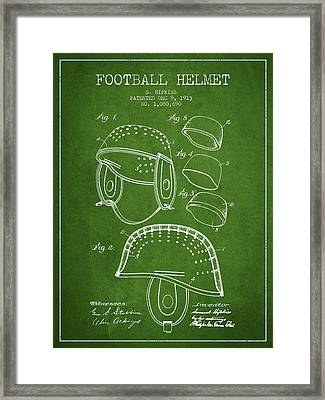 1913 Football Helmet Patent - Green Framed Print