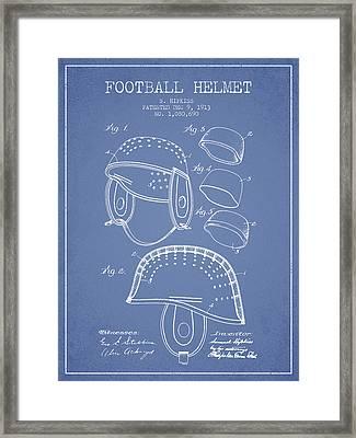 1913 Football Helmet Patent - Light Blue Framed Print