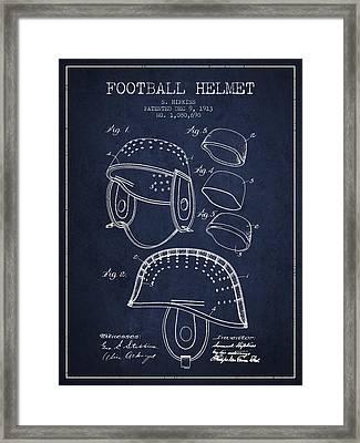 1913 Football Helmet Patent - Navy Blue Framed Print