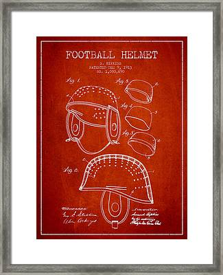 1913 Football Helmet Patent - Red Framed Print