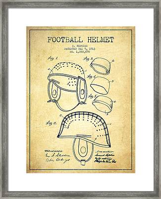 1913 Football Helmet Patent - Vintage Framed Print