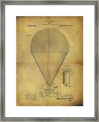 1913 Hot Air Balloon Patent Framed Print
