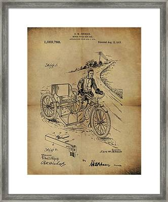 1913 Motorcycle Sidecar Patent Framed Print