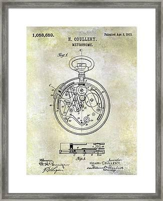 1913 Pocket Watch Patent Framed Print