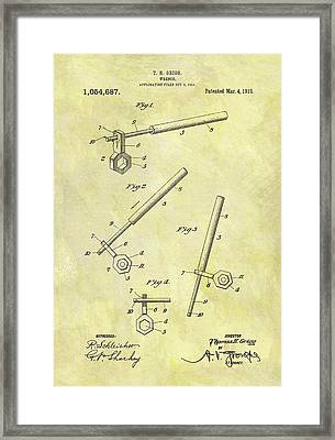 1913 Wrench Patent Framed Print by Dan Sproul