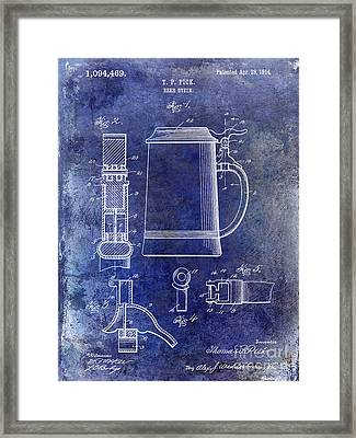 1914 Beer Stein Patent Blue Framed Print by Jon Neidert