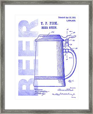1914 Beer Stein Patent Blueprint Framed Print by Jon Neidert