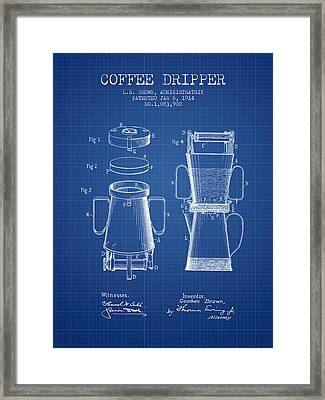 1914 Coffee Dripper Patent - Blueprint Framed Print by Aged Pixel