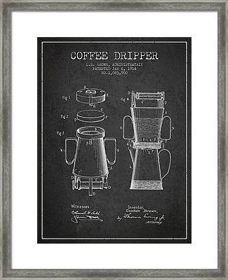 1914 Coffee Dripper Patent - Charcoal Framed Print by Aged Pixel