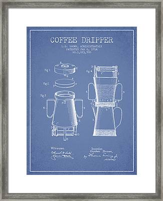 1914 Coffee Dripper Patent - Light Blue Framed Print by Aged Pixel
