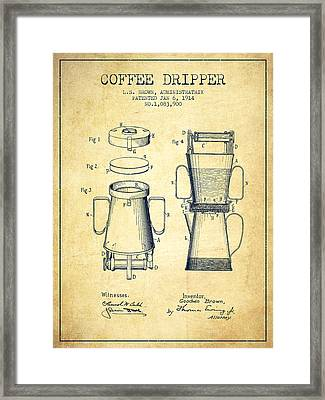 1914 Coffee Dripper Patent - Vintage Framed Print by Aged Pixel