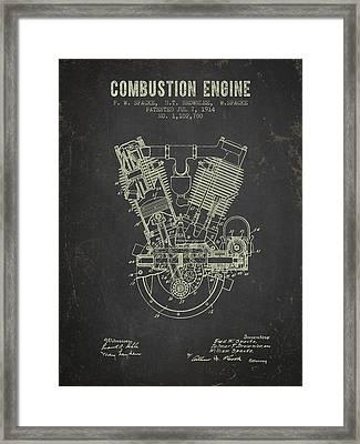 1914 Compustion Engine Patent - Dark Grunge Framed Print by Aged Pixel