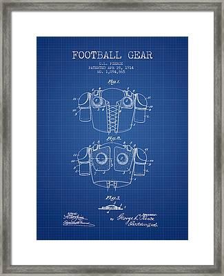 1914 Football Gear Patent - Blueprint Framed Print