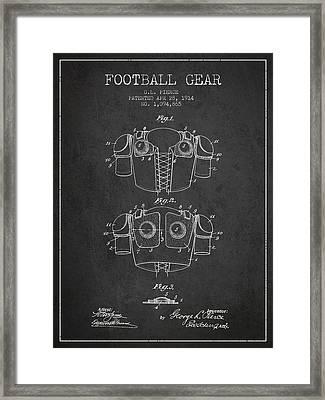 1914 Football Gear Patent - Charcoal Framed Print