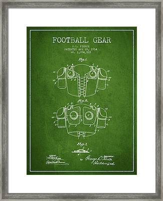 1914 Football Gear Patent - Green Framed Print