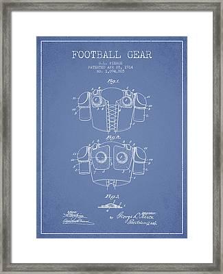 1914 Football Gear Patent - Light Blue Framed Print