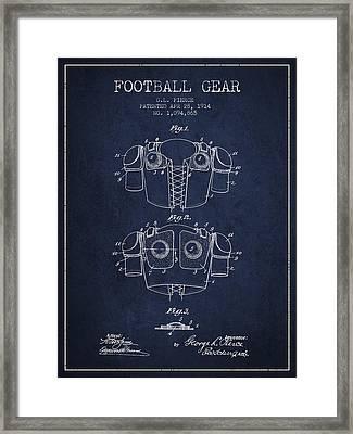 1914 Football Gear Patent - Navy Blue Framed Print