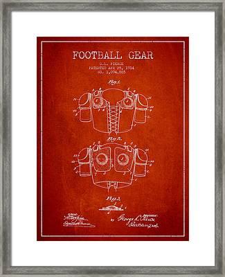 1914 Football Gear Patent - Red Framed Print