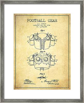 1914 Football Gear Patent - Vintage Framed Print