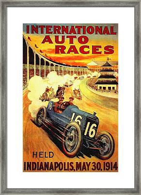1914 Indy 500 Poster Framed Print by Big 88 Artworks