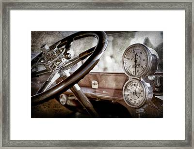 Framed Print featuring the photograph 1914 Rolls-royce 40 50 Silver Ghost Landaulette Steering Wheel -0795ac by Jill Reger