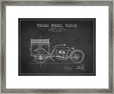 1914 Three Wheel Truck Patent - Charcoal Framed Print by Aged Pixel