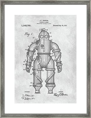 1915 Diving Suit Patent Framed Print by Dan Sproul