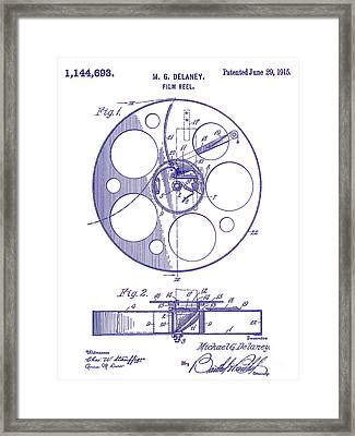 1915 Film Reel Patent Blueprint Framed Print