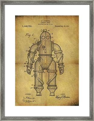 1915 Underwater Armor Suit Patent Framed Print by Dan Sproul