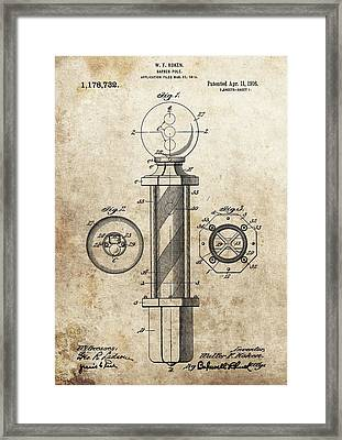 1916 Barber Pole Patent Framed Print by Dan Sproul