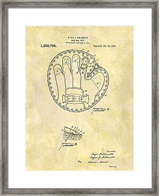 1916 Baseball Glove Patent Framed Print by Dan Sproul