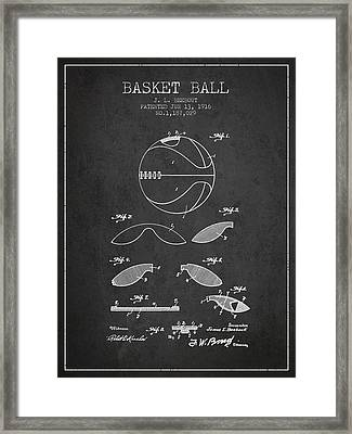1916 Basket Ball Patent - Charcoal Framed Print by Aged Pixel