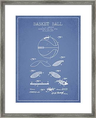 1916 Basket Ball Patent - Light Blue Framed Print by Aged Pixel
