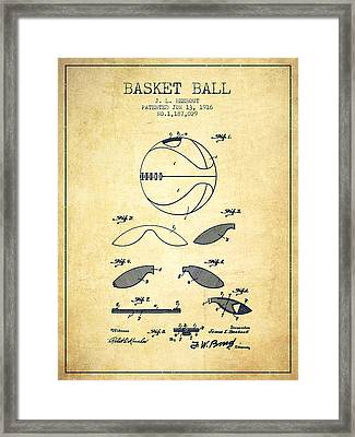 1916 Basket Ball Patent - Vintage Framed Print by Aged Pixel